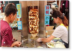 Acrylic Print featuring the photograph Preparing Shawarma Meat In Bread Buns by Yali Shi