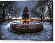Prescott Park Christmas Tree Acrylic Print by Eric Gendron
