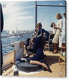President And Jacqueline Kennedy Watch Acrylic Print by Everett
