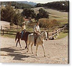 President And Nancy Reagan Horseback Acrylic Print by Everett
