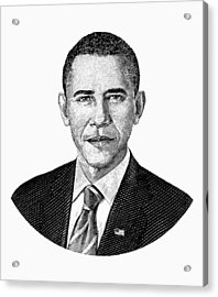 President Barack Obama Graphic Black And White Acrylic Print by War Is Hell Store