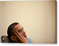 President Barack Obama Listening Acrylic Print by Everett