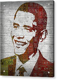 President Barack Obama Portrait United States License Plates Acrylic Print