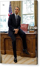 President Barack Obama Sits On The Edge Acrylic Print by Everett