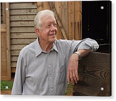 Acrylic Print featuring the photograph President Carter At His Boyhood Farm by Jerry Battle