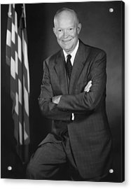 President Eisenhower And The U.s. Flag Acrylic Print