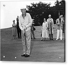 President Eisenhower Putting Acrylic Print by Underwood Archives