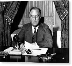 President Franklin Roosevelt Acrylic Print by War Is Hell Store