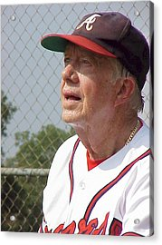 Acrylic Print featuring the photograph President Jimmy Carter - Atlanta Braves Jersey And Cap by Jerry Battle