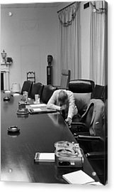 President Johnson Appears Agonized Acrylic Print by Everett