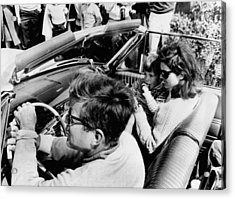 President Kennedy Drives An Open Car Acrylic Print