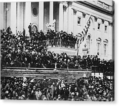 Acrylic Print featuring the photograph President Lincoln Gives His Second Inaugural Address - March 4 1865 by International  Images