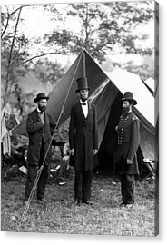 Acrylic Print featuring the photograph President Lincoln Meets With Generals After Victory At Antietam by International  Images