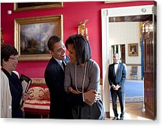 President Obama Hugs First Lady Acrylic Print by Everett