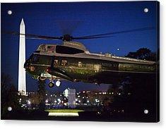 President Obama Reading As Marine One Acrylic Print by Everett