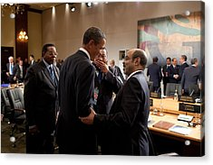 President Obama Talks With Ethiopian Acrylic Print by Everett
