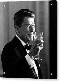 President Reagan Making A Toast Acrylic Print by War Is Hell Store
