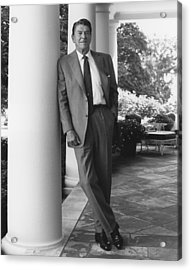 President Reagan Outside The White House Acrylic Print by War Is Hell Store