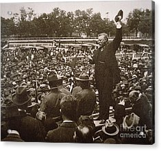 President Theodore Roosevelt Speaking At A Recruiting Rally In June 1917 Acrylic Print by American School