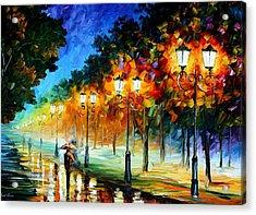 Prespective Of The Night Acrylic Print by Leonid Afremov