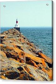 Presque Isle Lighthouse In Marquette Mi Acrylic Print by Mark J Seefeldt