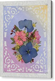 Pressed Flowers Arrangement With Pink Larkspur And Hydrangea Acrylic Print
