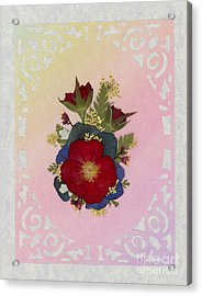 Pressed Flowers Arrangement With Red Roses Acrylic Print