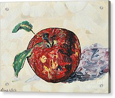 Acrylic Print featuring the painting Pretty Apple by Reina Resto
