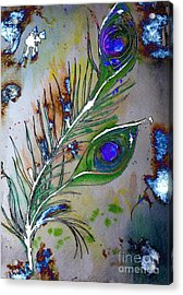 Acrylic Print featuring the painting Pretty As A Peacock by Denise Tomasura