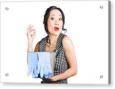Pretty Asian Lady Giving Ok Gesture To Clean Acrylic Print by Jorgo Photography - Wall Art Gallery