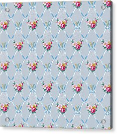 Acrylic Print featuring the digital art Pretty Blue Ribbons Rose Floral Vintage Wallpaper by Tracie Kaska