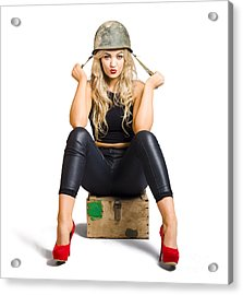 Pretty Female Pin Up Soldier On White Background Acrylic Print by Jorgo Photography - Wall Art Gallery