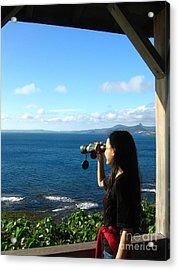 Pretty Girl Looking Through Binoculars Acrylic Print by Yali Shi