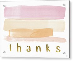 Pretty In Pink Watercolor Stripe Thank You- Art By Linda Woods Acrylic Print by Linda Woods