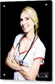 Pretty Nurse Smiling At A Recovering Patient Acrylic Print by Jorgo Photography - Wall Art Gallery