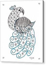 Pretty Peacock Acrylic Print by Paula Dickerhoff