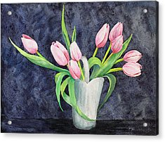 Pretty Pink Tulips Acrylic Print by Dee Carpenter