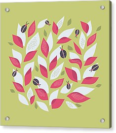 Pretty Plant With White Pink Leaves And Ladybugs Acrylic Print