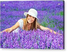 Pretty Woman On Lavender Field Acrylic Print by Anna Om
