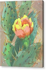 Acrylic Print featuring the painting Prickly Pear Cactus Bloom by Diane McClary