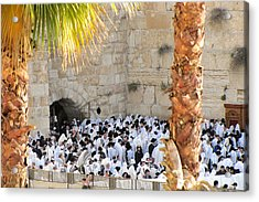 Prayer Of Shaharit At The Kotel During Sukkot Festival Acrylic Print by Yoel Koskas