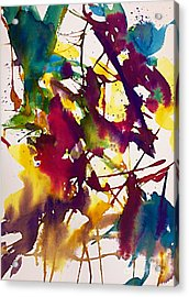 Primary Splatters Abstract  Acrylic Print by Ellen Levinson