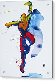 Primary Vertical Jump Shadow Acrylic Print by Shungaboy X
