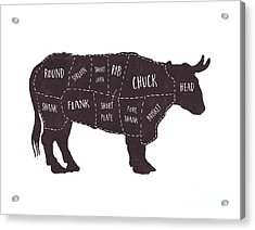 Acrylic Print featuring the photograph Primitive Butcher Shop Beef Cuts Chart T-shirt by Edward Fielding