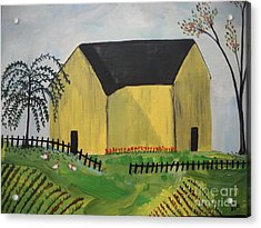 Acrylic Print featuring the painting Primitive Folk by Reina Resto