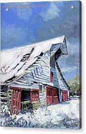 Primm Barn In Snow Acrylic Print