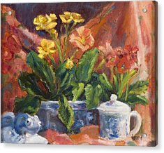 Primroses And Blue China Acrylic Print by Jimmie Trotter