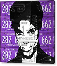 Prince Musician Portrait Made From Vintage Recycled Minnesota And Purple License Plates Acrylic Print