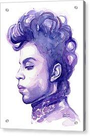 Prince Musician Watercolor Portrait Acrylic Print by Olga Shvartsur
