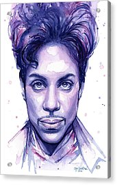Prince Purple Watercolor Acrylic Print by Olga Shvartsur